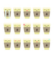 set of coffee cup emotions vector image vector image
