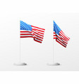 set realistic american flag isolated on white vector image