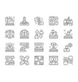 set teamwork line icons startup leadership vector image
