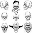 skulls set monogram graphic vector image