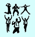 success and winner businessman action silhouette vector image vector image