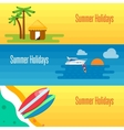 Summer Holidays Banner with Tropical Bungalows vector image vector image