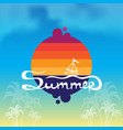 summer time background with boat on waves sun vector image
