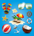 summer vacation beach sun sunglasses starfish vector image