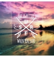 surfing typographic design on blurred photo vector image vector image