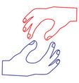 two human hands gesture support design vector image