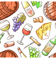 wine hand drawn color seamless pattern vector image vector image
