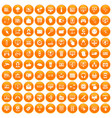 100 internet icons set orange vector image vector image