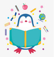 back to school cute penguin reading book education vector image vector image