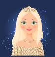 beautiful cartoon girl in a crown and a gold dress vector image