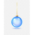 blue christmas glass toys on a transparent vector image vector image