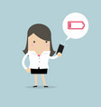 businesswoman using smartphone with low battery vector image vector image