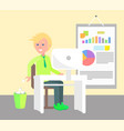 cheerful man working in office vector image vector image
