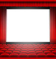 cinema screen with red curtain vector image