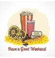 Colored cinema weekend concept vector image