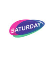 colorful saturday icon vector image vector image