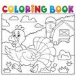 coloring book running turkey bird 2 vector image vector image