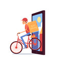 courier man with backpack riding bicycle out of vector image