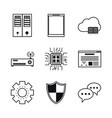 database and hosting icons vector image