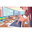 developer with screens on vector image vector image