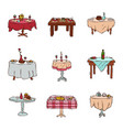 dining tables in restaurant set lunch vector image vector image
