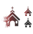 disappearing dot halftone church icon vector image vector image