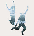 double exposure happy jumping people silhouettes vector image