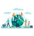 earth cleaning people clean world from garbage vector image