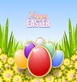 Easter eggs in the grass vector image vector image