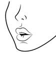 face profile with sexy lips black and white vector image vector image
