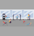 fitness center workout flat vector image vector image
