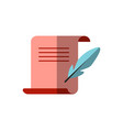 flat icon medieval letter for diploma vector image