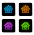 glowing neon smart home icon isolated on white vector image