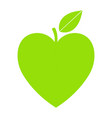 green icon with heart shape and leaf can vector image