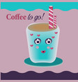 happy cute smiling funny coffee cup flat vector image