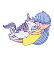happy girl hugging beauty unicorn vector image vector image