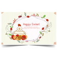 happy holiday easter day card vintage egg with vector image vector image
