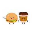 happy smiling funny cute burger vector image vector image