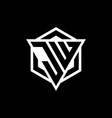 jw logo monogram with triangle and hexagon shape vector image vector image