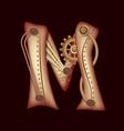 letter m of mechanic alphabet steampunk font vector image vector image