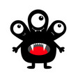 monster black silhouette three eyes fang tooth vector image vector image