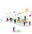 music poster with piano keys and children vector image vector image