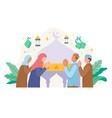 muslim people greeting and celebrating eid mubarak vector image vector image