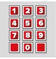 Number set red - flat design vector image vector image