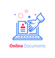 online document on monitor file exchange vector image