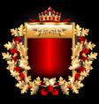Royal emblem with gold oak leaves vector image vector image