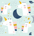 seamless childish pattern with cute unicorns and vector image