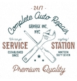 Service station vintage label tee design graphics vector image vector image