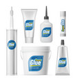 set glue containers bottles realistic tube vector image vector image
