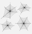 set of black spider web on white vector image